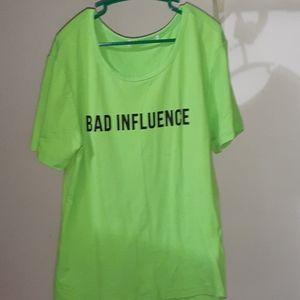 Neon green tight fitting t-shirt